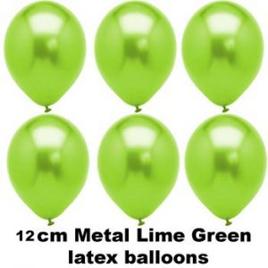 12cm met lime green balloons