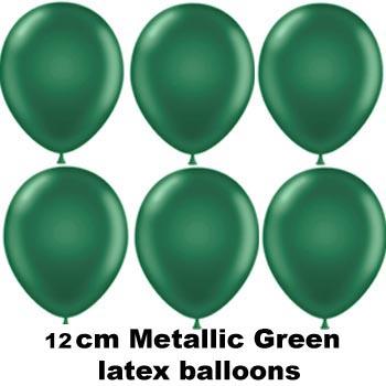 12cm metallic green balloons