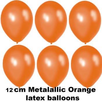 12cm metallic orange balloons