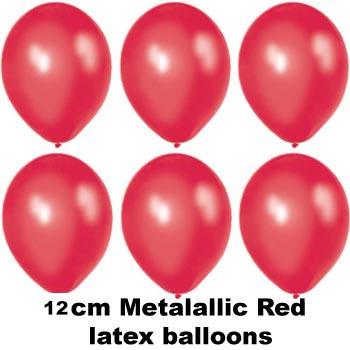 12cm metallic red balloons
