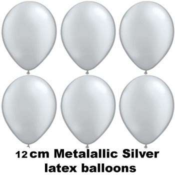 12cm metallic silver balloons