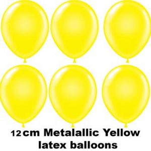 12cm metallic yellow balloons