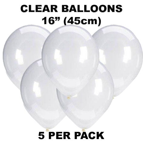 Clear 45cm latex balloons 5 pack