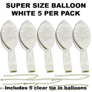 White Super Size 90cm balloons 5 pack