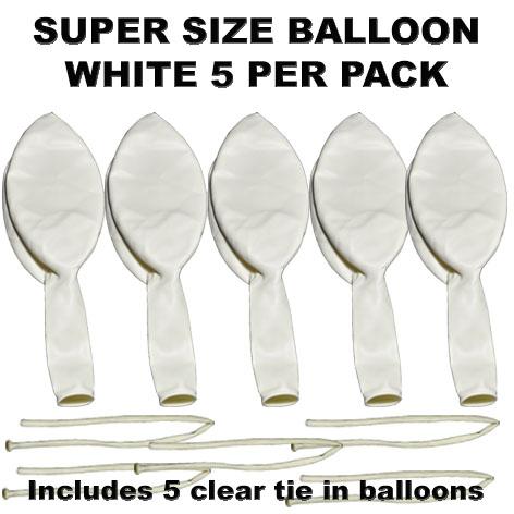 White Super Size 90cm balloons 5 pack