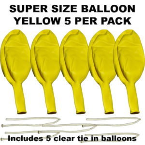 Yellow Super Size 90cm balloons 5 pack
