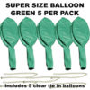 Green Super Size 90cm balloons 5 pack