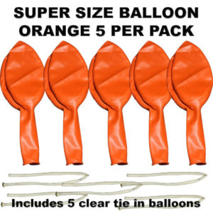 Orange Super Size 90cm balloons 5 pack