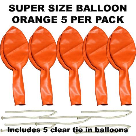 Orange Super Size 90cm balloons 5 pack