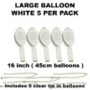 White Large balloons 5 pack