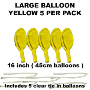 Yellow Large balloons 5 pack