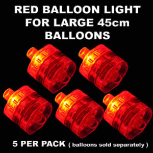 5 Red Large Balloon Lights 5 pack
