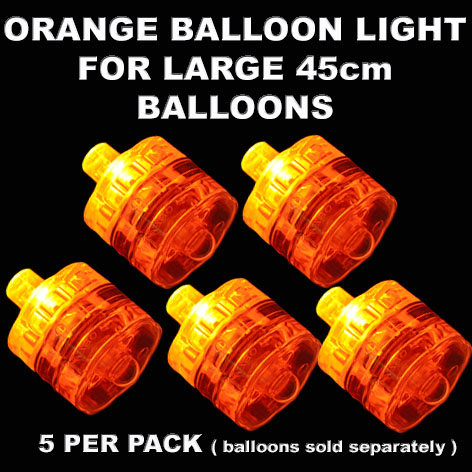 5 Orange Large Balloon Lights 5 pack