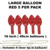 Red Large balloons 5 pack