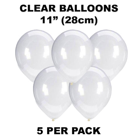 Clear 28cm latex balloons 5 pack