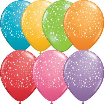 Stars Around 28cm Printed Balloons 100 BAG