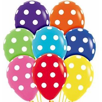 Polka Dots Around 28cm Printed Balloons 100 BAG
