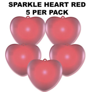 Red Sparkle Hearts 5 pack