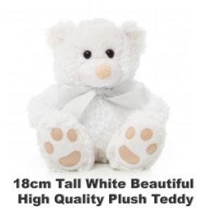 White Plush 18cm tall teddy