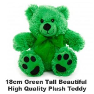 Green Plush 18cm tall teddy