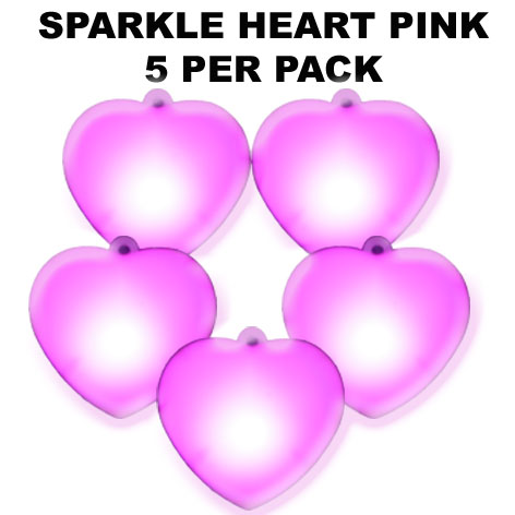 Pink Sparkle Hearts 5 pack