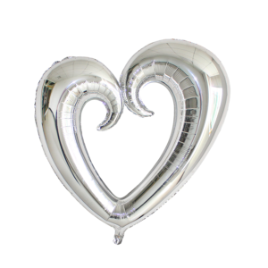 SILVER SCROLL HEART 75CM
