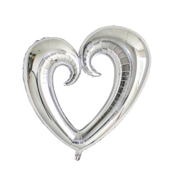 SILVER SCROLL HEART 75CM