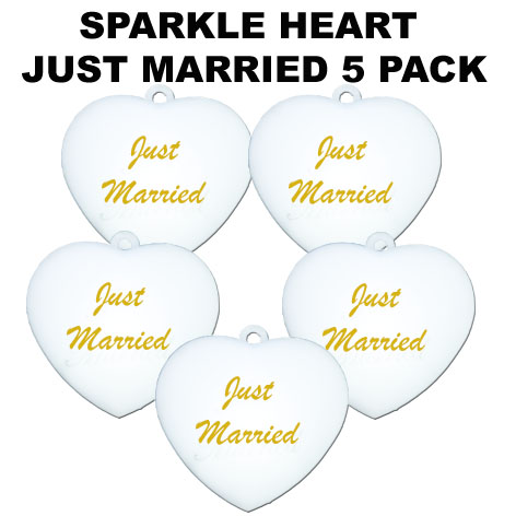 Just Married Sparkle Hearts 5 pack