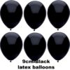 BLACK 9cm Latex Balloons 100 BAG