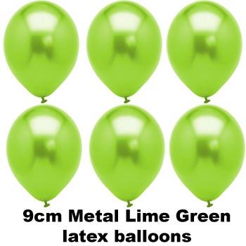 METAL LIME GREEN 9cm Balloons 100 BAG