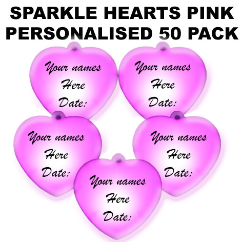 100 Pink Personalised Sparkle Hearts 100 pack