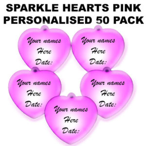 50 Pink Personalised Sparkle Hearts 50 pack