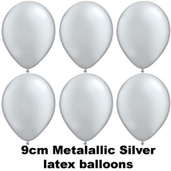 METALLIC SILVER 9cm Balloons 100 BAG
