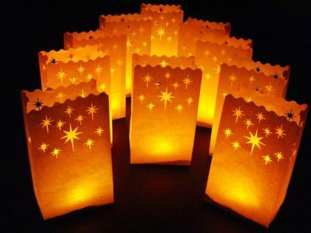 Luminary Bag Star Pattern 10 PACK