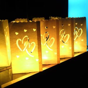 Luminary Bag Hearts pattern 10 PACK