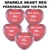 100 Red Personalised Sparkle Hearts 100 pack