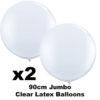 2 x Clear Jumbo 90cm balloons