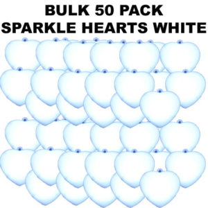 50 Bulk White Sparkle Hearts 50 pack