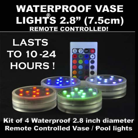 Waterproof Vase & Pool light 7.5cm Kit of 4