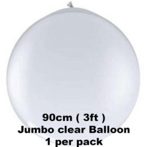 90cm Clear Jumbo Latex Balloons 1 pk