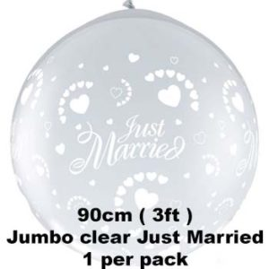 90cm Clear Just married balloon 1 pk