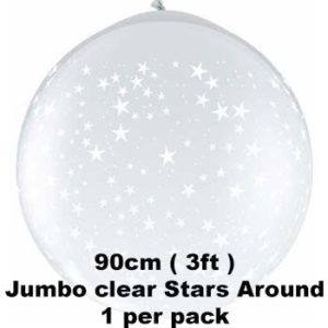 90cm Clear Stars around balloon 1 pk