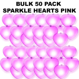 50 Bulk Pink Sparkle Hearts 50 pack