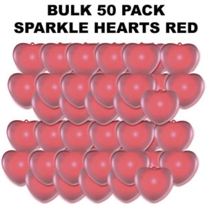 50 Bulk Red Sparkle Hearts 50 pack