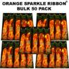 50 Bulk Orange Sparkle Ribbon 50 pack