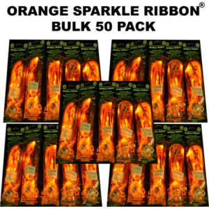 50 Bulk Orange Sparkle Ribbon 50 pack