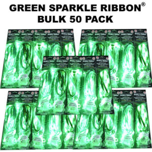 50 Bulk Green Sparkle Ribbon 50 pack