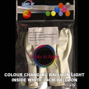 Colour changing balloon light inside white balloon packet