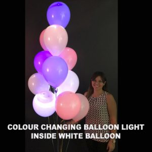 Colour changing balloon light inside white balloon inflated