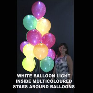 White balloon light inside multicoloured stars around balloon inflated